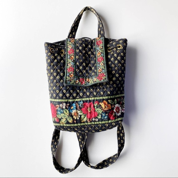 Vera Bradley Backpack Mini Sunflower Pattern Black